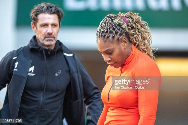 September 26. Serena Williams of the United States training with coach Patrick Mouratoglou on Court Philippe-Chatrier in preparation for the 2020...