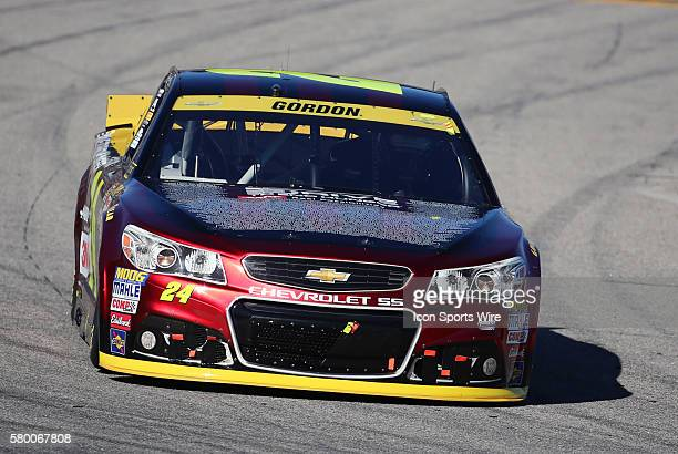 Jeff Gordon Sprint Cup driver of the Drive To End Hunger Chevrolet exits pit road during the Sylvania 300 at New Hampshire Motor Speedway in Loudon...