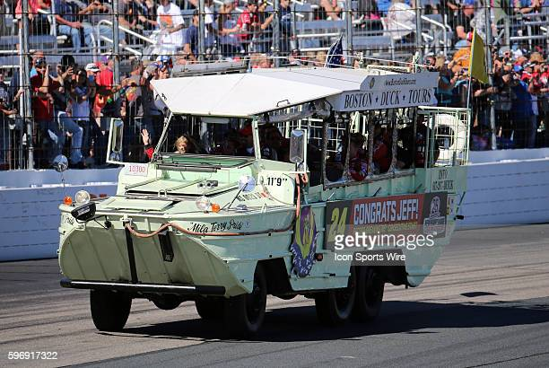 Jeff Gordon Sprint Cup driver of the Drive To End Hunger Chevrolet waves from his duck boat honoring his 789th consecutive and last start at New...