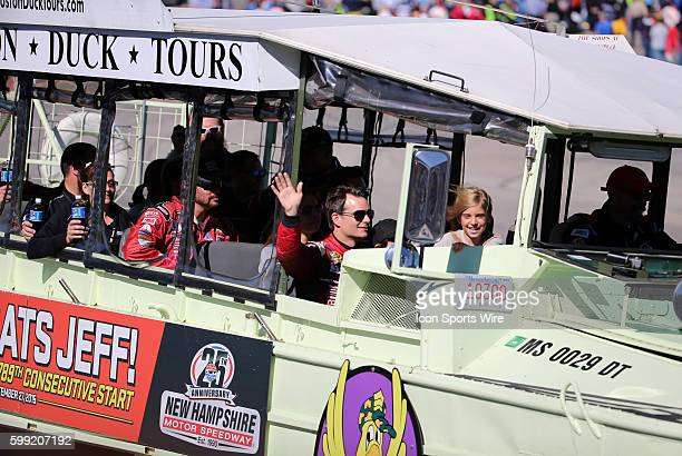 Jeff Gordon Sprint Cup driver of the Drive To End Hunger Chevrolet waves from his duck boat honoring his 789th consecutive start before the Sylvania...