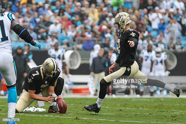 New Orleans Saints kicker Zach Hocker adds a field goal during the conference matchup between the New Orleans Saints and the Carolina Panthers at...