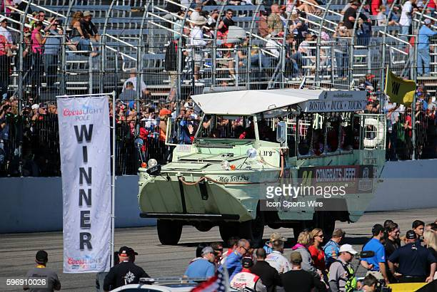The duck boat carrying Jeff Gordon Sprint Cup driver of the Drive To End Hunger Chevrolet to honor him for his 789th consecutive start and last at...