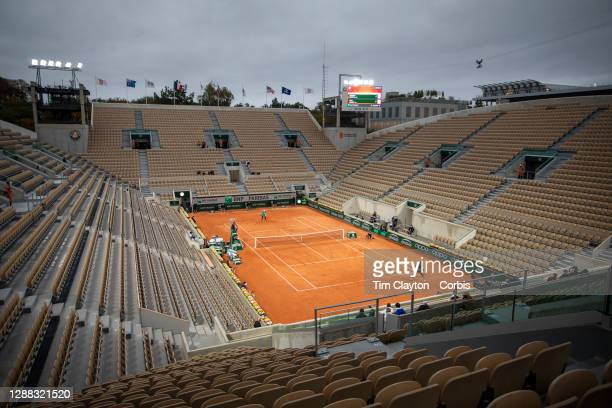 September 27. A general view of the empty Court Suzanne Lenglen as Coco Gauff of the United States plays against Johanna Konta of Great Britain on...