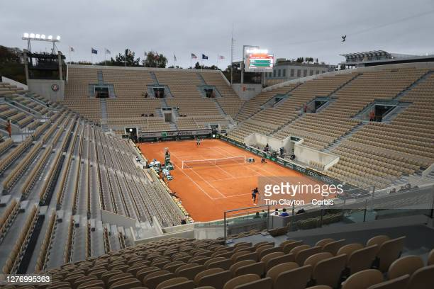 September 27. A general view of the empty CourtSuzanne Lenglen as Coco Gauff of the United States plays against Johanna Konta of Great Britain on...