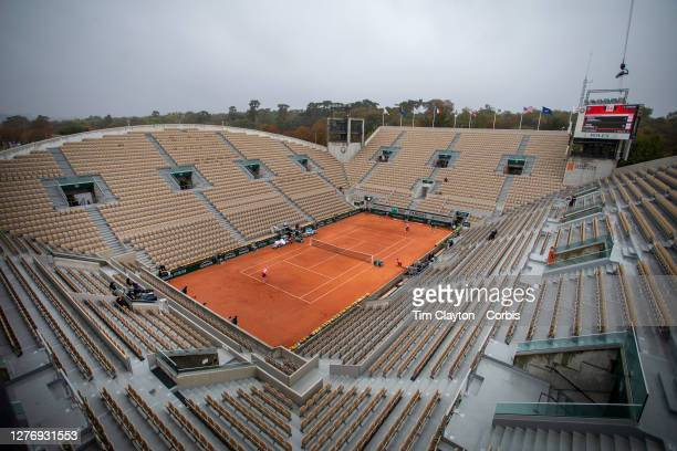 September 27. A general view of Victoria Azarenka of Belarus in action against Danka Kovinic of Montenegro on Court Suzanne Lenglen in the first...