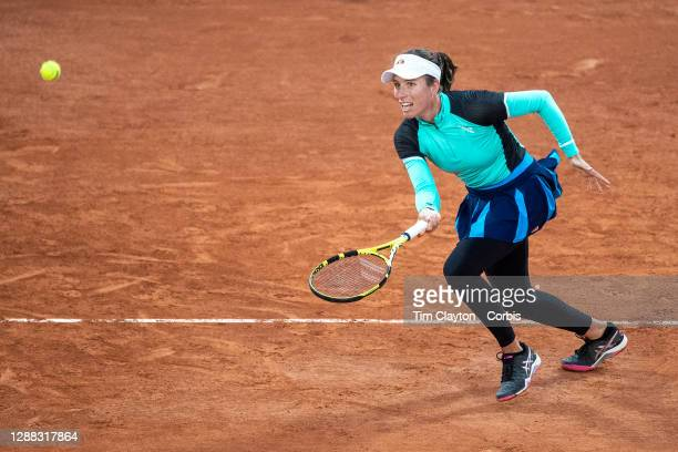 September 27. Johanna Konta of Great Britain in action against Coco Gauff of the United States in the first round of the Women's singles competition...