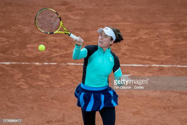 September 27. Johanna Konta of Great Britain in action against in action against Coco Gauff of the United States on CourtSuzanne Lenglen in the...