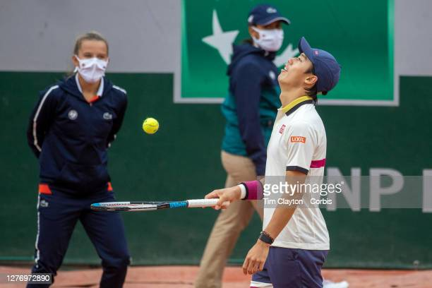 September 27. Kei Nishikori of Japan reacts during his match against Daniel Evans of Great Britain on CourtFourteen in the first round of the...