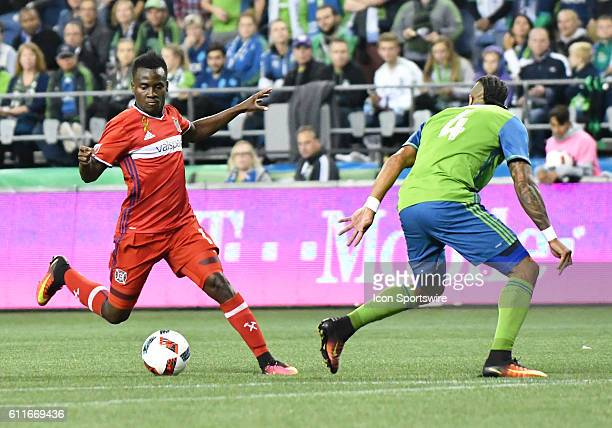 Chicago Fire midfielder David Accam during a MLS match between the Seattle Sounders FC and Chicago Fire on Xbox Pitch at CenturyLink Field in Seattle...