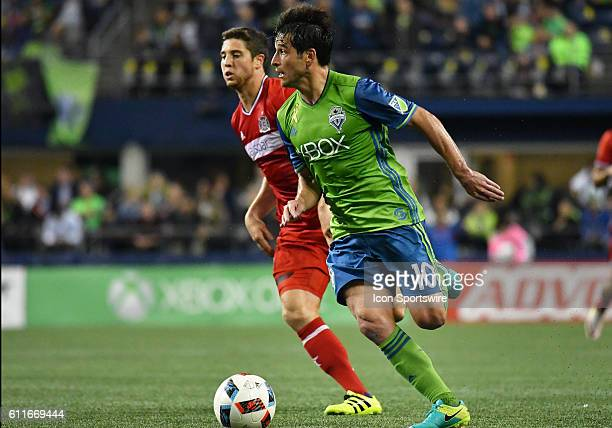 Seattle Sounders FC midfielder Nicolas Lodeiro during a MLS match between the Seattle Sounders FC and Chicago Fire on Xbox Pitch at CenturyLink Field...