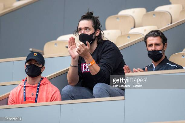 September 28. Alexis Ohanian, husband of Serena Williams of the United States watches her in action against Kristie Ahn of the United States in the...