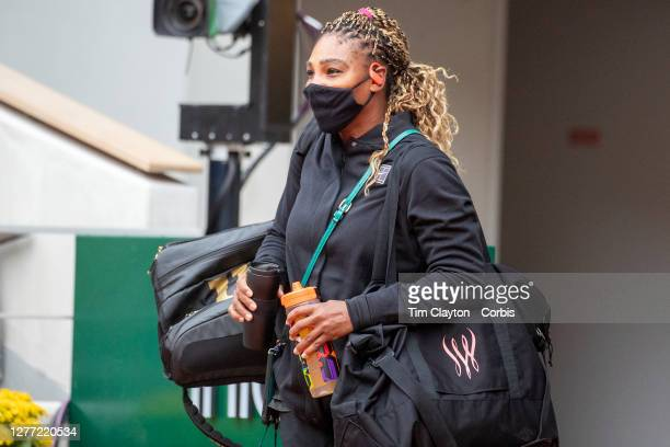 September 28. Serena Williams of the United States arrives on court for her match against Kristie Ahn of the United States in the first round of the...