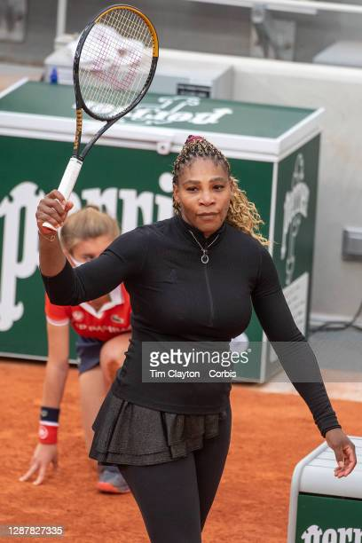 September 28. Serena Williams of the United States celebrates her victory against Kristie Ahn of the United States in the first round of the Women's...
