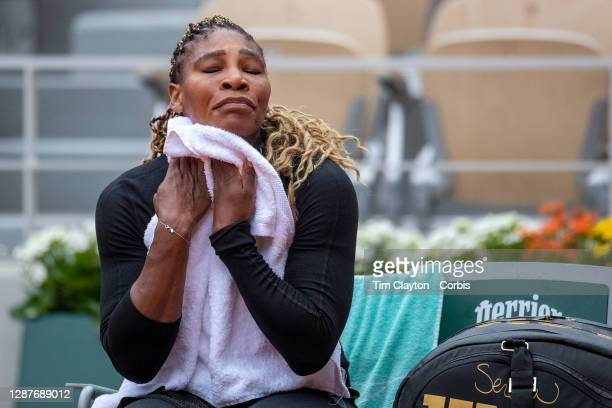 September 28. Serena Williams of the United States during a change of ends while playing against Kristie Ahn of the United States in the first round...