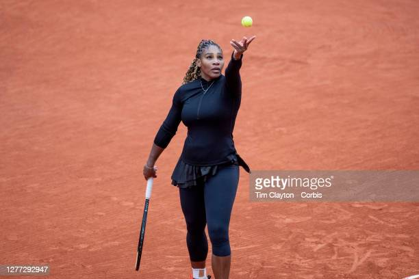 September 28. Serena Williams of the United States in action against Kristie Ahn of the United States in the first round of the singles competition...