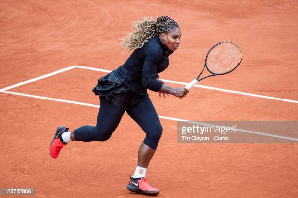 September 28. Serena Williams of the United States in action against Kristie Ahn of the United States in the first round of the Women's Singles...