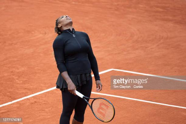 September 28. Serena Williams of the United States reacts during her match against Kristie Ahn of the United States in the first round of the singles...