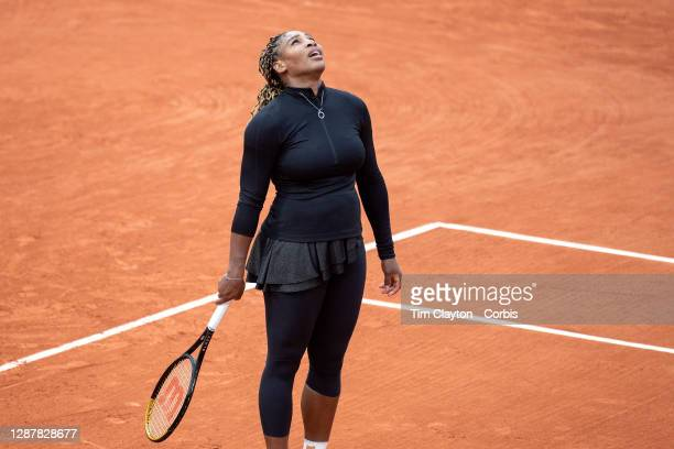 September 28. Serena Williams of the United States reacts during her match against Kristie Ahn of the United States in the first round of the Women's...