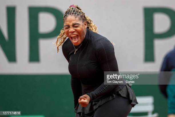 September 28. Serena Williams of the United States reacts to a point during her match against Kristie Ahn of the United States in the first round of...