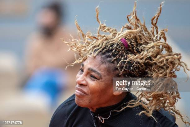 September 28. Serena Williams of the United States while serving against Kristie Ahn of the United States in the first round of the singles...