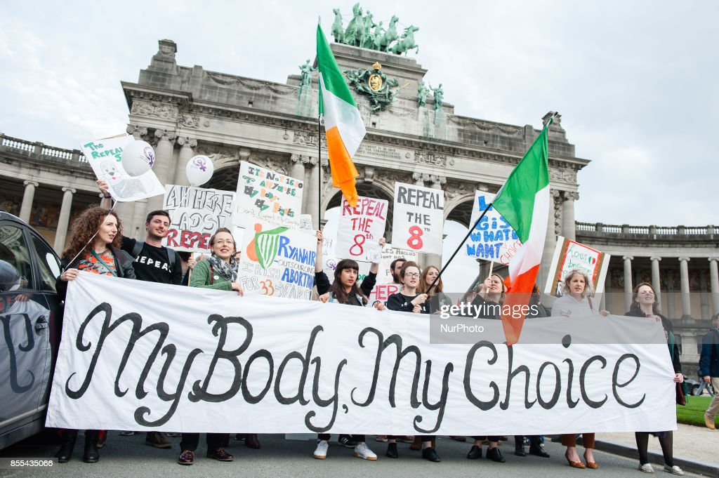 Protest for an access to abortion rights everywhere in Europe, took place in Brussels : News Photo