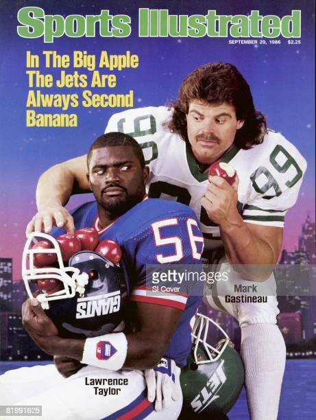 September 29 1986 Sports Illustrated Cover Football Portrait of New York Giants Lawrence Taylor and New York Jets Mark Gastineau 9/18/1986 CREDIT...