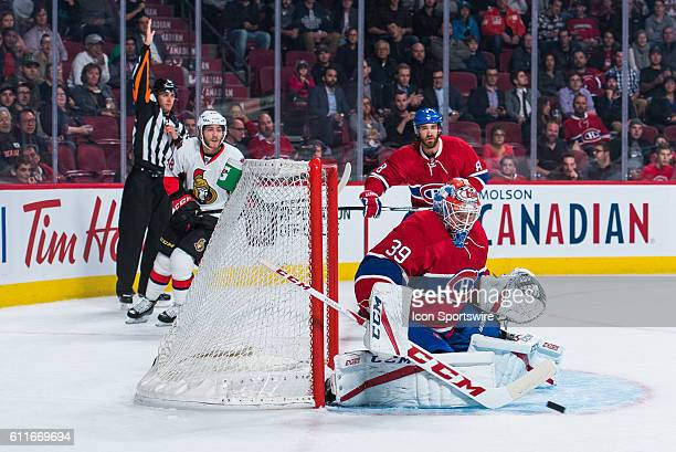 Canadiens goalkeeper Mike Condon making a stop during the Ottawa Senators versus the Montreal Canadiens preseason game at Bell Centre in Montreal QC