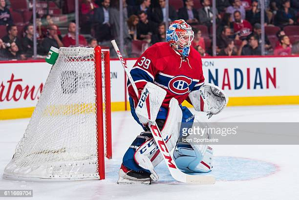 Canadiens goalkeeper Mike Condon watching during the Ottawa Senators versus the Montreal Canadiens preseason game at Bell Centre in Montreal QC