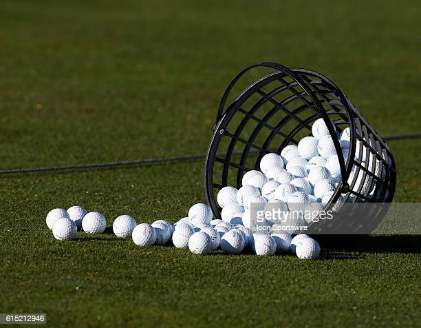 Chaska MN USA A large bucket of balls sits on the driving range during practice for the 2016 Ryder Cup at Hazeltine National Golf Club in Chaska MN