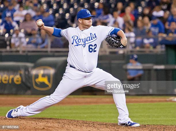 Kansas City Royals Pitcher Brooks Pounders pitches the ball during the series finale between the Kansas City Royals and the Minnesota Twins played at...