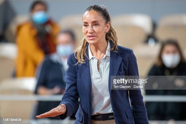 September 29. Chair umpire Marijana Veljovic working on Court Philippe-Chatrier during the French Open Tennis Tournament at Roland Garros on...