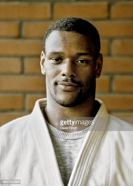 Dennis Stewart of Great Britain after training two days before he won his Olympic u95kg bronze medal during the Olympic Judo at the Changchung...