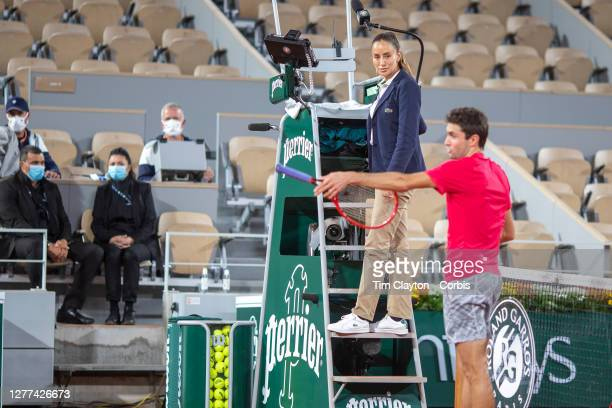 September 29. Gilles Simon of France argues a line call with umpire Marijana Veljovic during his match with Denis Shapovalov of Canada in the first...