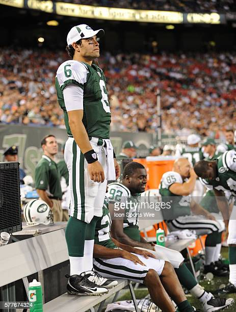 New York Jets Vs Phillidelphia Eagles preseason game at Giants Stadum in East Rutherford NJ NY Jets Mark Sanchez sits on the Jets sidelines...