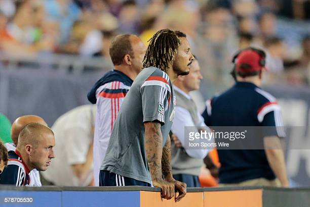 Subbed off at halftime New England Revolution's Jermaine Jones lends his support from the bench The New England Revolution defeated Sporting Kansas...