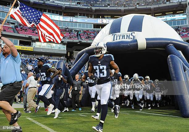 Tennessee Titans take the field for game against the Minnesota Vikings at Nissan Stadium in Nashville TN