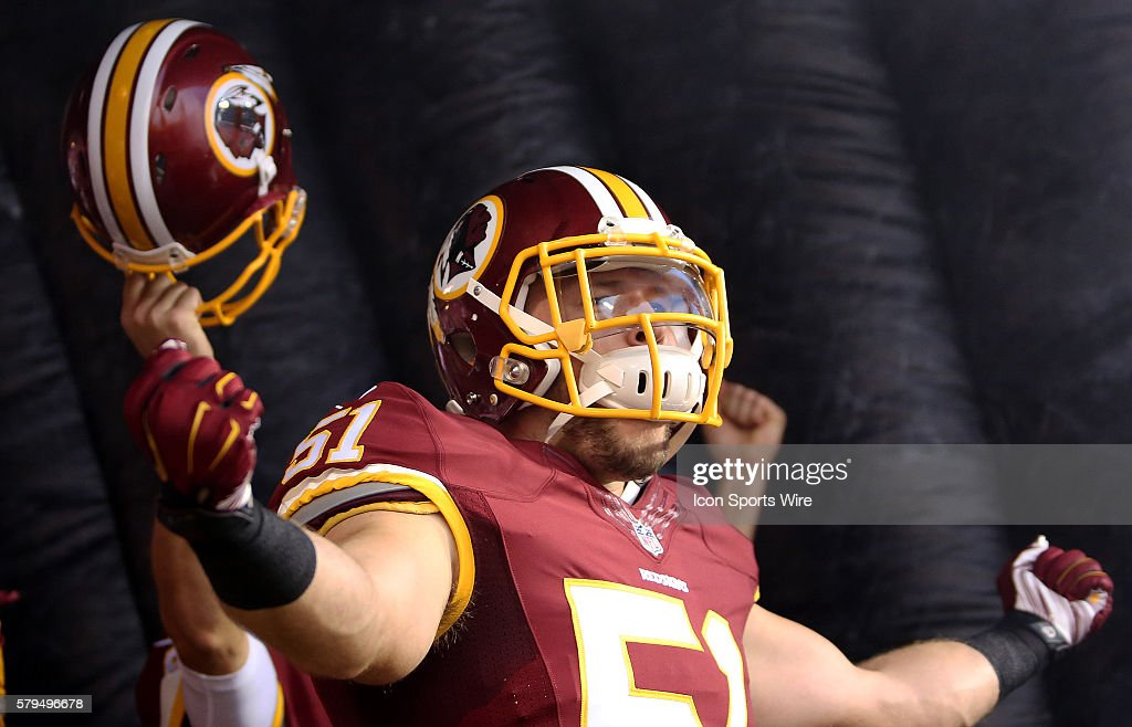 Washington Redskins linebacker Will Compton (51) in action before a match between the Washington Redskins and the Jacksonville Jaguars at FedEx field in Landover, Maryland.