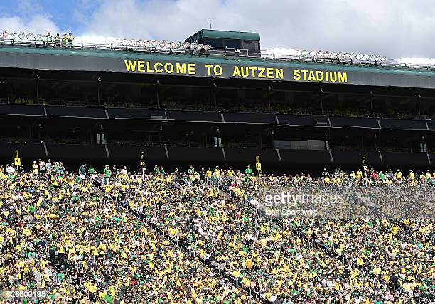 September 3 2016 A general view of Oregon Ducks fans during an NCAA football game between the University of Oregon Ducks and UC Davis Aggies at...