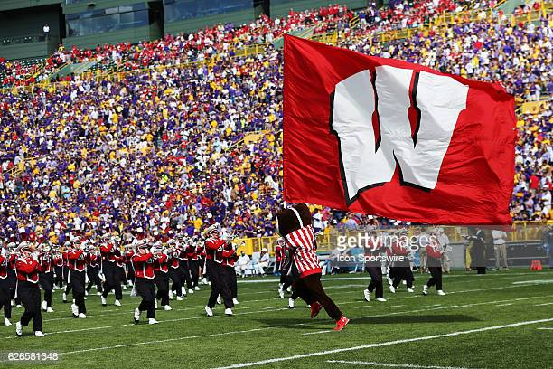 Bucky Badger takes the field during the LSU Tigers game versus the Wisconsin Badgers at Lambeau Field in Green Bay WI