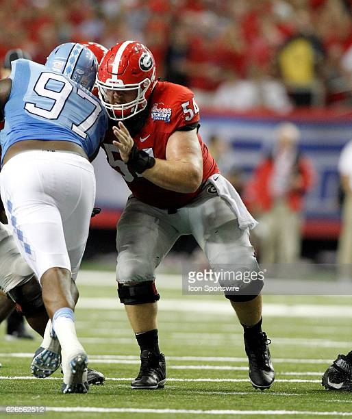 Georgia Bulldogs center Brandon Kublanow blocking during the second half The Georgia Bulldogs defeated the North Carolina Tar Heels 3324 at the Chick...