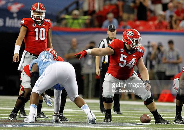 Georgia Bulldogs center Brandon Kublanow in first half action during the Chick fil A Kickoff game at the Georgia Dome in Atlanta Georgia