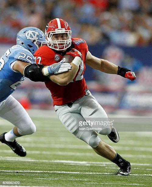Georgia Bulldogs running back Brendan Douglas in first half action during the Chick fil A Kickoff game at the Georgia Dome in Atlanta Georgia