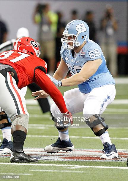North Carolina Tar Heels center Lucas Crowley in first half action during the Chick fil A Kickoff game at the Georgia Dome in Atlanta Georgia