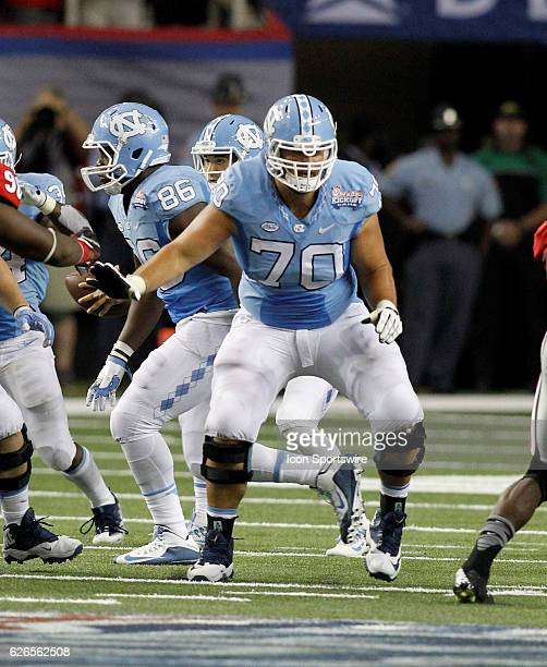 North Carolina Tar Heels offensive lineman Caleb Peterson in second half action The Georgia Bulldogs defeated the North Carolina Tar Heels 3324 at...