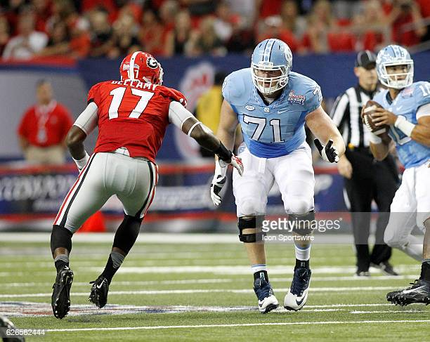 North Carolina Tar Heels offensive tackle Jon Heck in first half action during the Chick fil A Kickoff game at the Georgia Dome in Atlanta Georgia