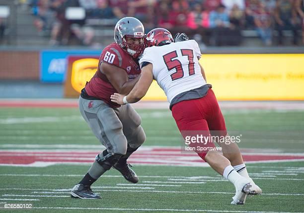 WSU offensive lineman Andre Dillard fends off EWU Dylan Ledbetter freshman defensive lineman in the game between the Eastern Washington University...
