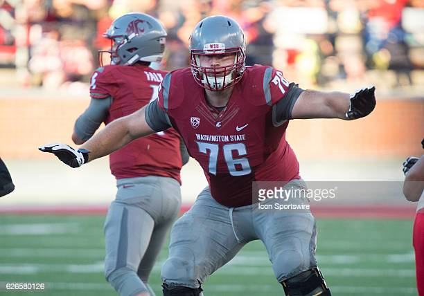 WSU offensive lineman Cody O'Connell in the game between the Eastern Washington University Eagles and the Washington State University Cougars