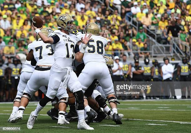 September 3, 2016 - UC Davis QB Ben Scott looks tot throw during an NCAA football game between the University of Oregon Ducks and UC Davis Aggies at...