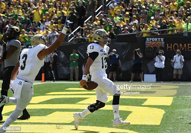 September 3, 2016 - UC Davis QB Ben Scott scores a first half touchdown to put UC Davis up 7-0 during an NCAA football game between the University of...