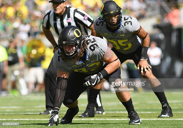 September 3 2016 University of Oregon DL Henry Mondeaux readies for the play during an NCAA football game between the University of Oregon Ducks and...